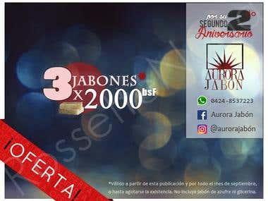 Diseño de cartel Evento Jabones 2x1 AuroraJabó