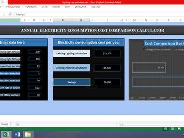 Annual Electricity Consumption Cost Comparison Calculator