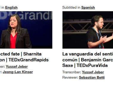 Subtitling for TEDex Conferences