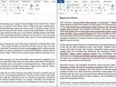 ENG-MALAY Article Story Translation