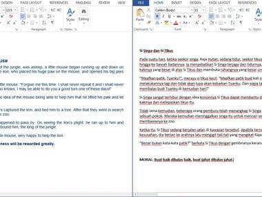 ENG-MALAY Creative Children Story Translation