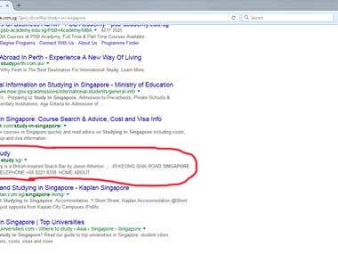 Study in Singapore - Ranking in Google Singapore top
