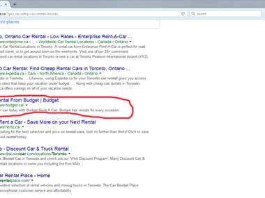Car rental Toronto - Google.ca first page ranking