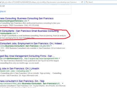 Business consultant in San Francisco - Google.com First page