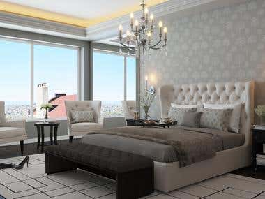 3Ds max, Vray. Bedroom