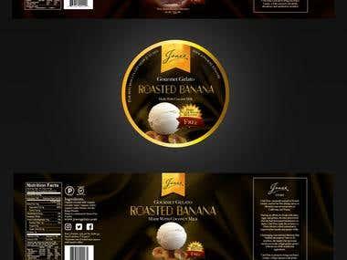 Diseño de etiqueta para línea de helados premium