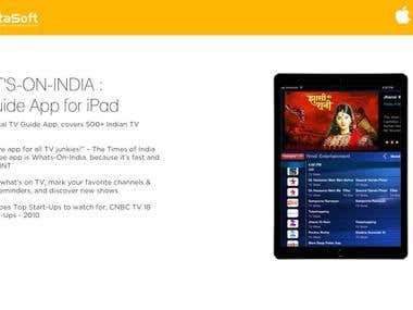 WHAT'S-ON-INDIA : TV Guide App for iPad