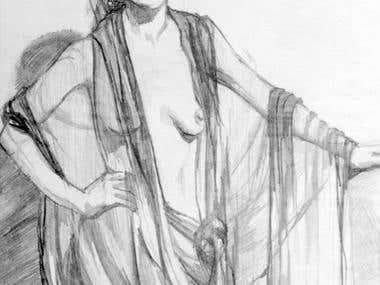 Pencil drawing of Model