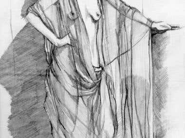 Pencil drawing of standing model.