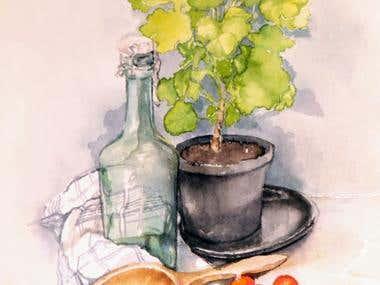 Still life aquarelle illustration.