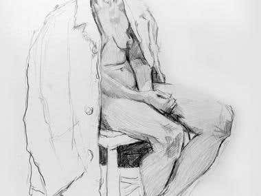 Pencil drawing of sitting model.