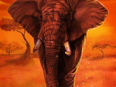 Digital Painting-African Elephant