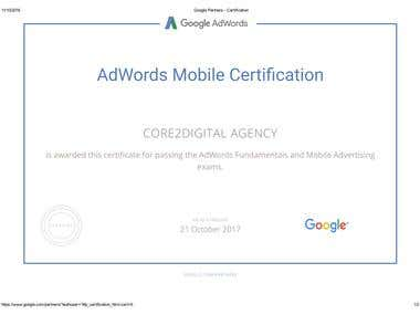 Google  Mobile Advertising Certfication