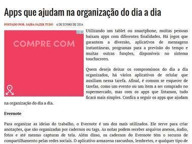 Apps article, artigo sobre apps