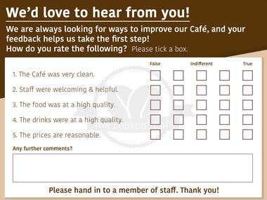 Cafe Feedback Card