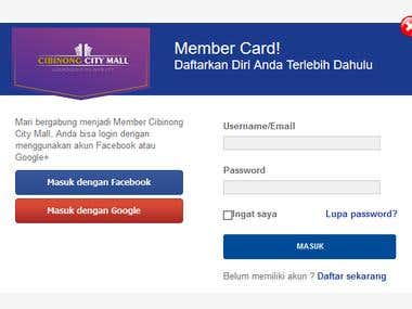 Display login, sign up, member card website cibinong city ma
