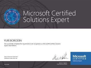 Certificate MCSE Data Platform