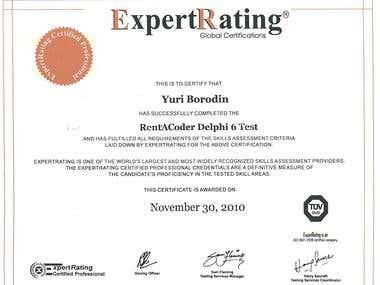 Certificate Delphi 6 Expert