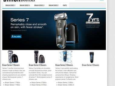 A website about Braun electric shavers