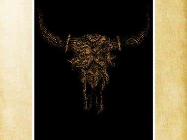 Golden Buffalo Skull-Poster