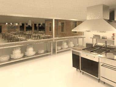 Design of industrial kitchen.