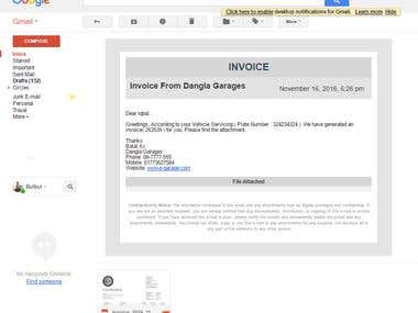 Create Invoice and send mail