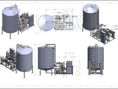 Water Treatment Plant Layout (Skid, tank, Piping / routing)