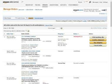 Order manage process on Amazon Seller Central