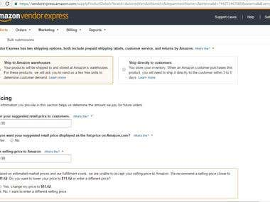 Product adding process on Amazon Vendor Express