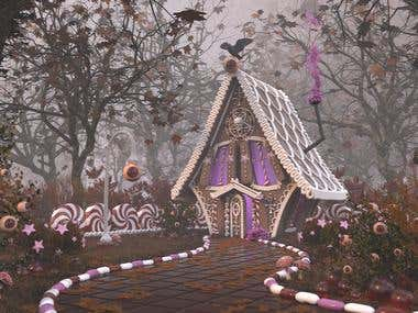 Gingerbread House 3D visualization