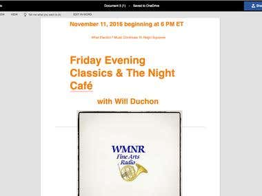 FRIDAY EVENING CLASSICS AND THE NIGHT CAFÉ blog template