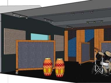 Acoustical design and simulation for a recording studio