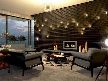 Design & 3D vizualization of cottage interiors