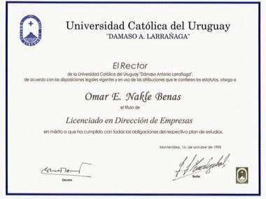 Titulo de Licenciado en Dirección de Empresas - UCUDAL