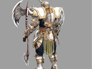 3d character with armor work