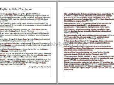 Article translation English to Malay