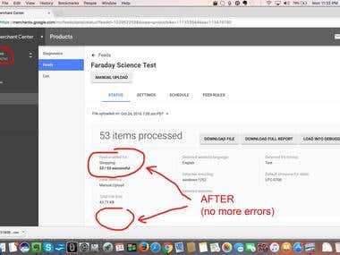 Fixed 53 Errors in Google Merchant Center