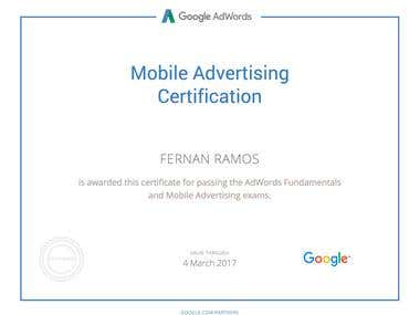 Adwords Mobile Advertising Certification issued by Google