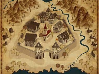 Aged fantasy map
