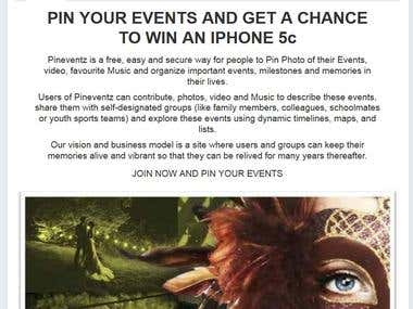 Promotional page for Pineventz