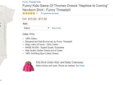 Funny Treadz clothing size variations Listings