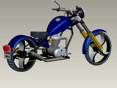 my 3-D design of an old school hardtail chopper