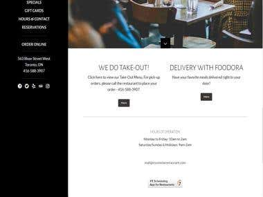 Wordpress theme based Restaurant Website