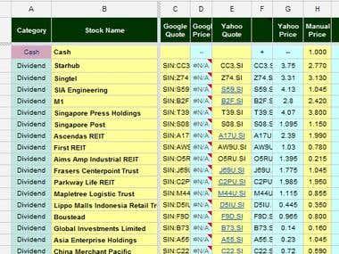 Excel data sheet