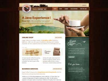 Eagle Coffee Website - WordPress | Magento