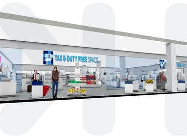 Conception of shops' interiors on Poznan Airport