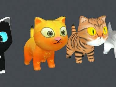 Low poly Cats (animated)