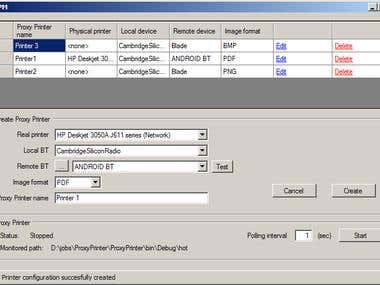 Intercept print job, create PDF and send over BlueTooth