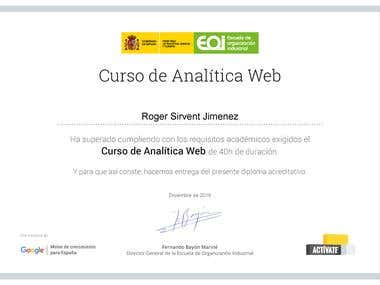 Certificate of  'Web Analytics' by google