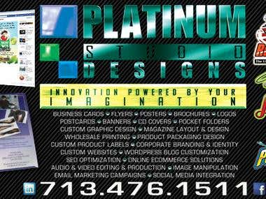 Platinum Studio Designs offers a wide variety of Services.